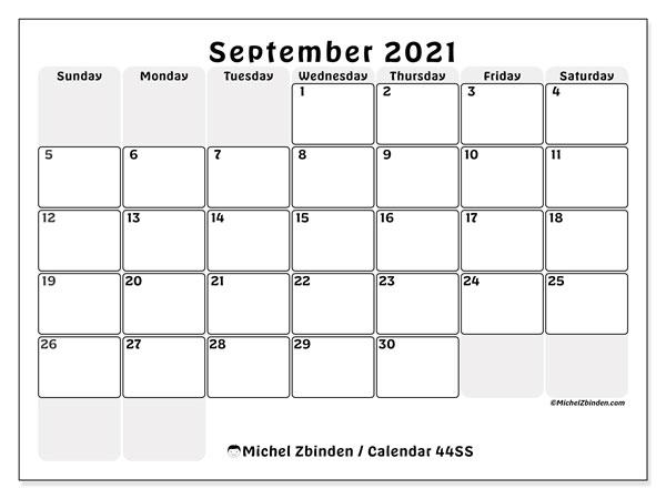 September 2021 Calendar, 44SS. Free printable monthly calendar.