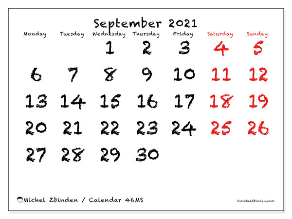 Printable calendar, September 2021, 46MS