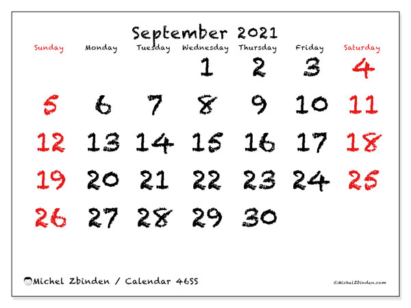 Calendar September 2021 - 46SS. With chalk. Monthly Calendar and free agenda to print.