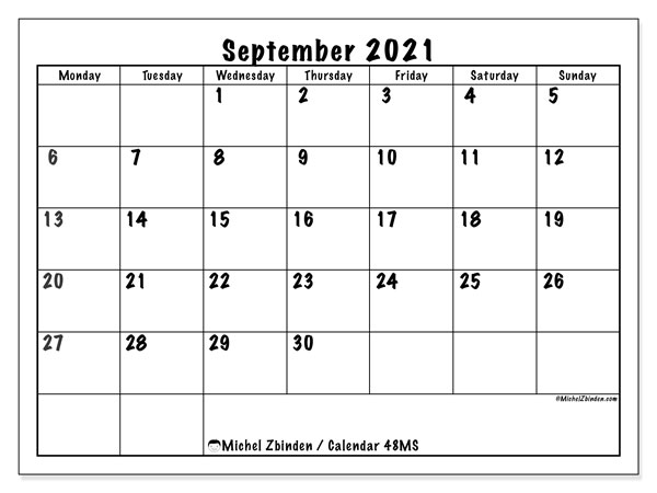 "Calendar ""48MS"", September 2021, ready to print."