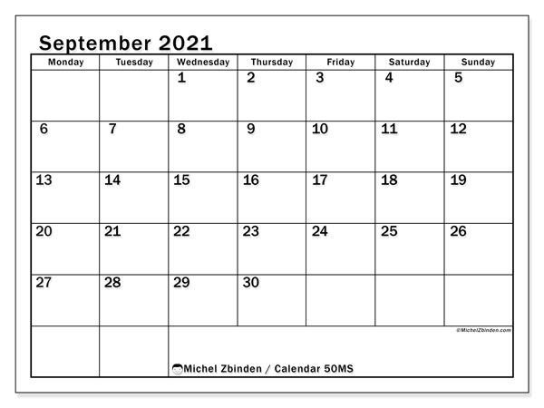 Printable calendars, September 2021, Monday - Sunday