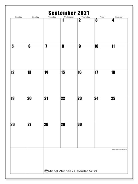 September 2021 Calendar, 52SS. Free printable planner.