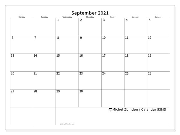 September 2021 Calendar, 53MS. Calendar to print free.