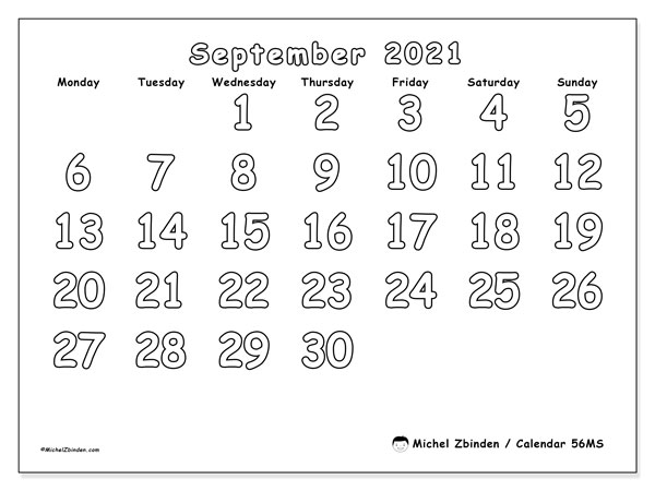 Printable calendar, September 2021, 56MS