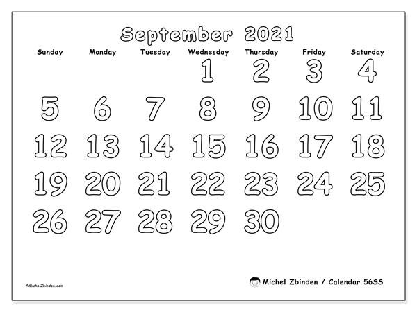 September 2021 Calendar, 56SS. Free bullet journal to print.