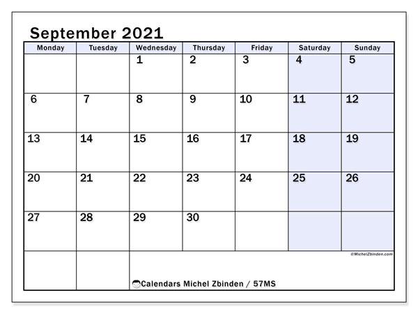 September 2021 Calendar, 57MS. Free printable planner.