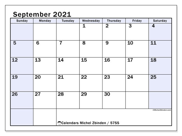 September 2021 Calendar, 57SS. Free printable monthly calendar.