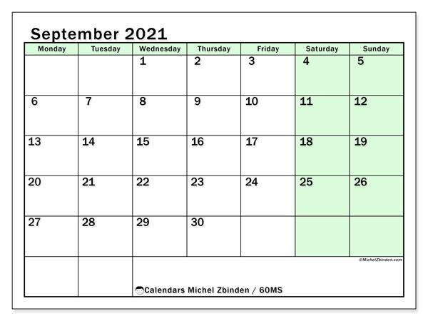 September 2021 Calendar, 60MS. Free calendar to print.
