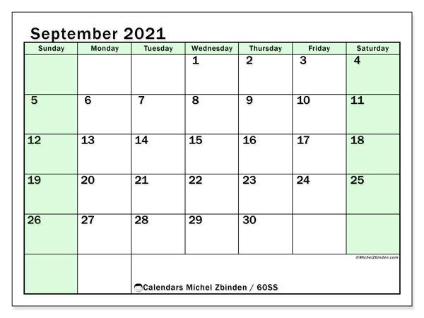 September 2021 Calendar, 60SS. Free printable calendar.
