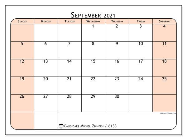 September 2021 Calendar, 61SS. Planner to print free.