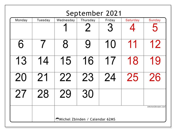 Printable calendar, September 2021, 62MS