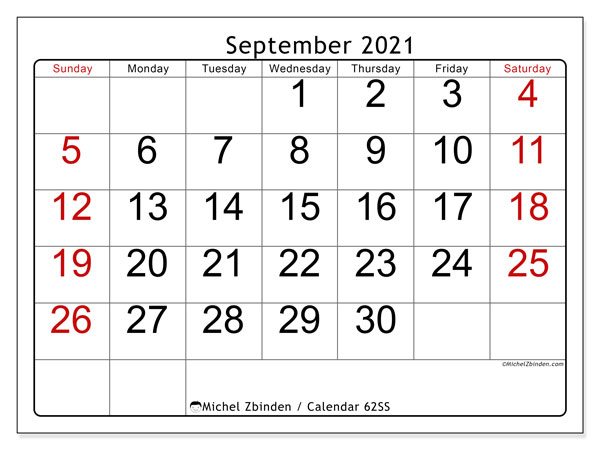 Calendar September 2021 - 62SS. Easy to read. Monthly Calendar and free printable planner.
