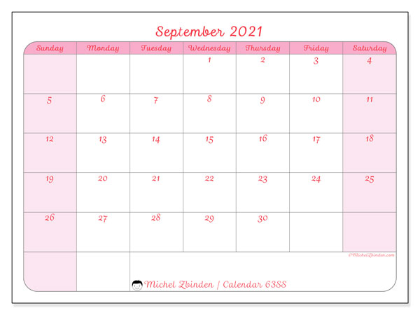 September 2021 Calendar, 63SS. Calendar for the month to print free.