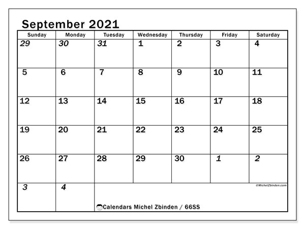 Calendar September 2021 - 66SS. The Total. Monthly Calendar and planner to print free.