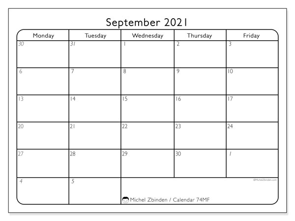 Calendar September 2021 - 74SS. Working Days. Monthly Calendar and free agenda to print.