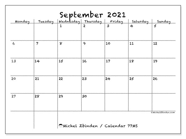 Printable calendar, September 2021, 77MS