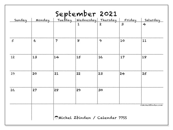 Calendar September 2021 - 77SS. Blackboard. Monthly Calendar and free printable timetable.