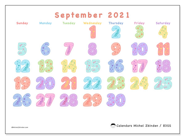 September 2021 Calendar, 83SS. Monthly planner to print free.