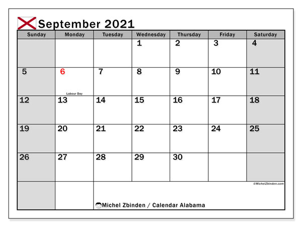 "Printable ""Alabama"" calendar with public holidays. Monthly September 2021 calendar and free printable agenda."