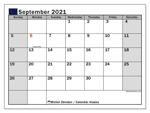 September 2021 Calendar, with the holidays of Alaska. Free printable calendar with public holidays.