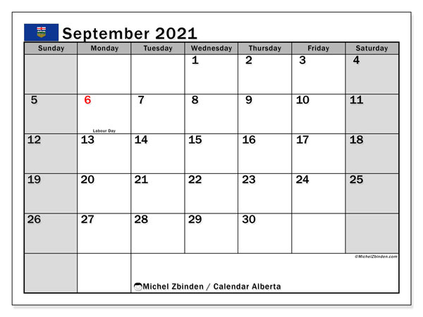 September 2021 Calendar, with the holidays of Alberta. Free printable calendar with public holidays.