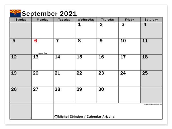September 2021 Calendar, with the holidays of Arizona. Holidays calendar to print free.