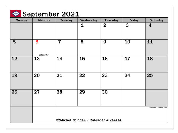 Calendar September 2021 - Arkansas. Public Holidays. Monthly Calendar and free printable schedule.