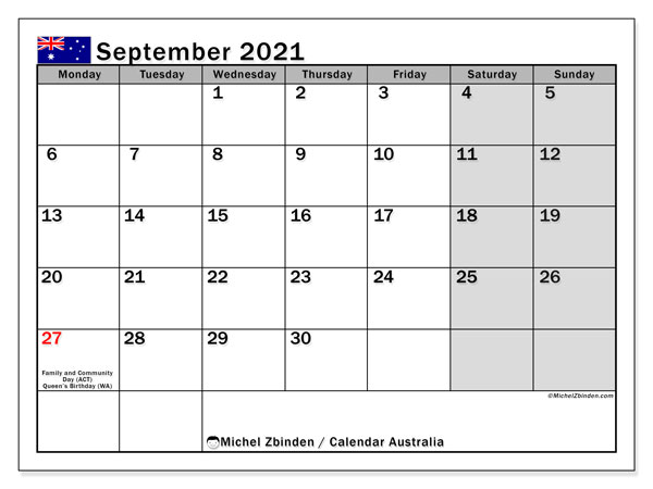 Calendar September 2021 - Australia. Public Holidays. Monthly Calendar and free agenda to print.