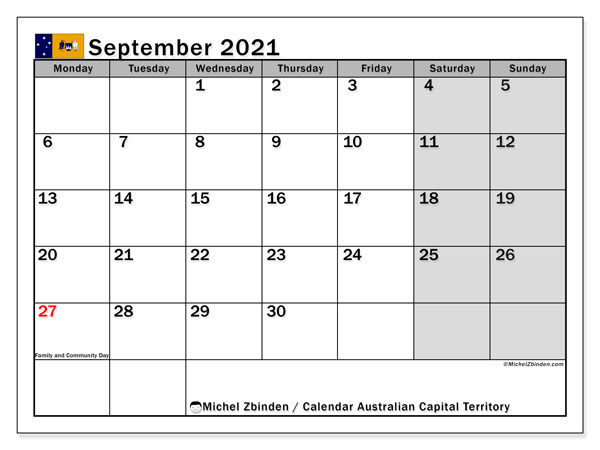 September 2021 Calendar, with the holidays of Australian Capital Territory. Free printable calendar with public holidays.