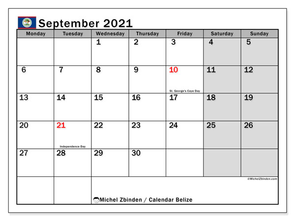 Calendar September 2021 - Belize. Public Holidays. Monthly Calendar and free bullet journal to print.