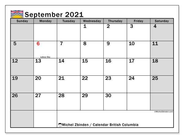 Calendar September 2021 - British Columbia. Public Holidays. Monthly Calendar and agenda to print free.