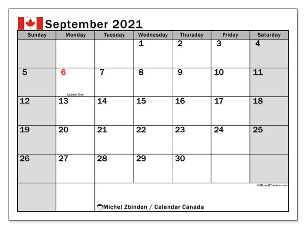 Calendar September 2021 - Canada. Public Holidays. Monthly Calendar and planner to print free.