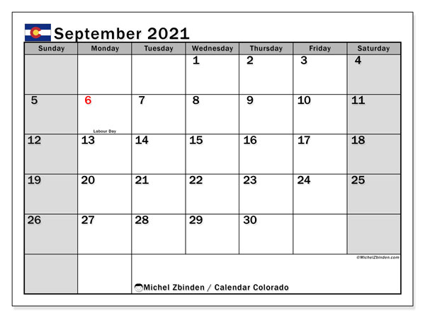 September 2021 Calendar, with the holidays of Colorado. Free printable calendar with public holidays.