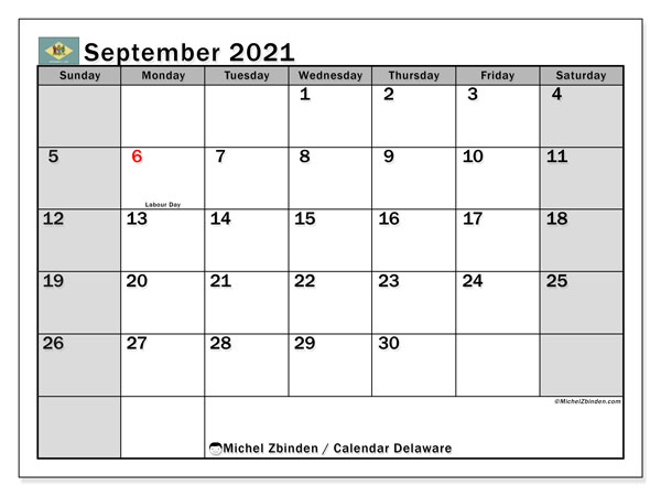 September 2021 Calendar, with the holidays of Delaware. Holidays calendar to print free.