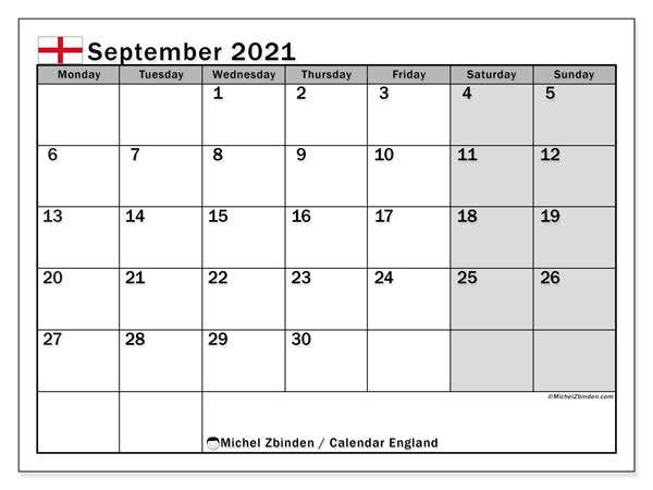 September 2021 Calendar, with the holidays of England. Free printable calendar with public holidays.