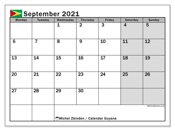 September 2021 Calendar, with the holidays of Guyana. Free printable calendar with public holidays.