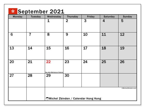 Calendar September 2021 - Hong Kong. Public Holidays. Monthly Calendar and timetable to print free.