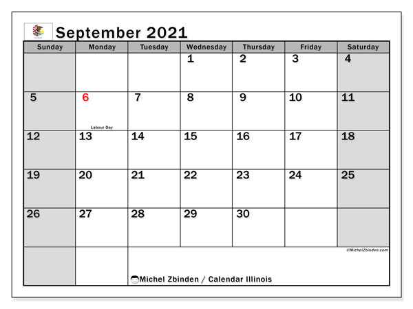 September 2021 Calendar, with the holidays of Illinois. Free printable calendar with public holidays.