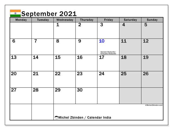 """Printable September 2021 """"India"""" Calendar   Michel Zbinden EN"""