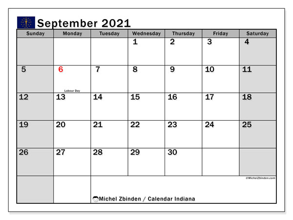 "Printable ""Indiana"" calendar with public holidays. Monthly September 2021 calendar and free schedule to print."
