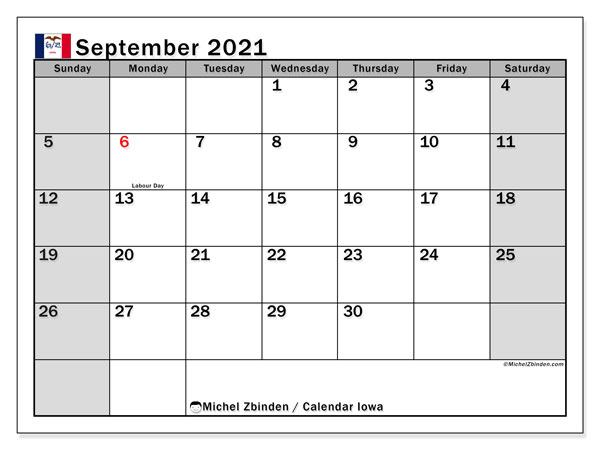 September 2021 Calendar, with the holidays of Iowa. Free printable calendar with public holidays.
