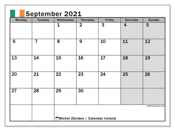 September 2021 Calendar, with the holidays of Ireland. Free printable calendar with public holidays.