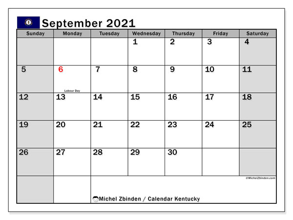 Calendar September 2021 - Kentucky. Public Holidays. Monthly Calendar and timetable to print free.
