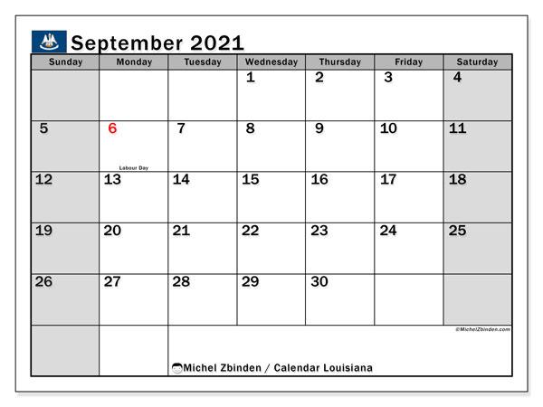 September 2021 Calendar, with the holidays of Louisiana. Holidays calendar to print free.