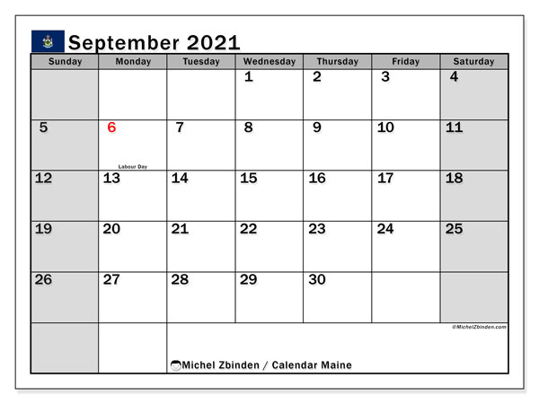 Calendar September 2021 - Maine. Public Holidays. Monthly Calendar and timetable to print free.