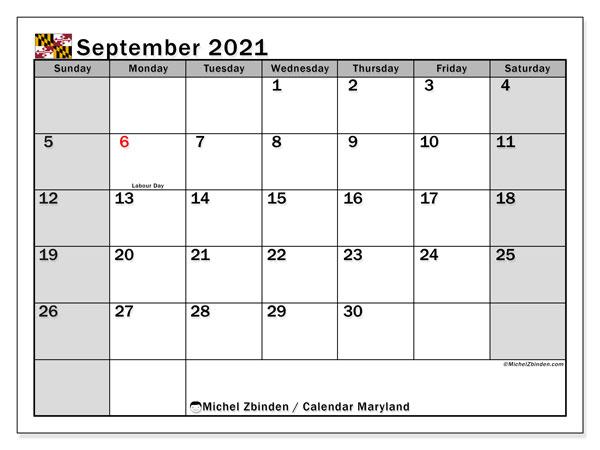 September 2021 Calendar, with the holidays of Maryland. Holidays calendar to print free.