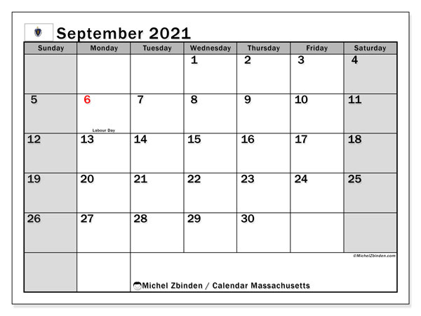 Calendar September 2021 - Massachusetts. Public Holidays. Monthly Calendar and timetable to print free.