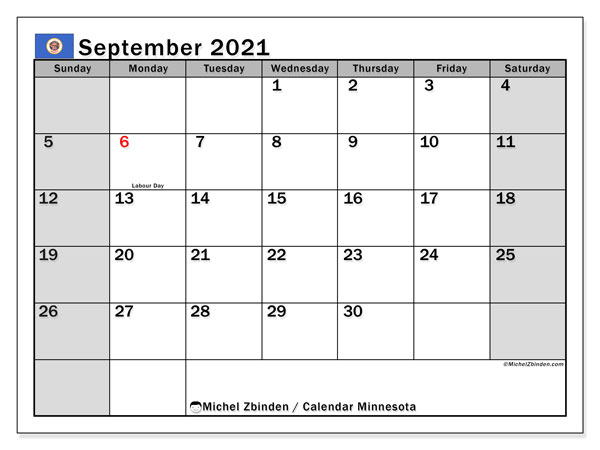 September 2021 Calendar, with the holidays of Minnesota. Holidays calendar to print free.