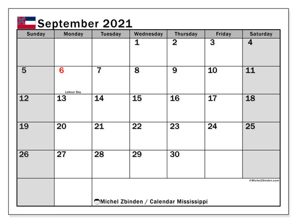 September 2021 Calendar, with the Mississippi holidays. Holidays calendar to print free.