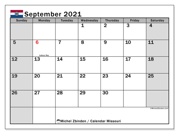 "Printable ""Missouri"" calendar with public holidays. Monthly September 2021 calendar and free bullet journal to print."
